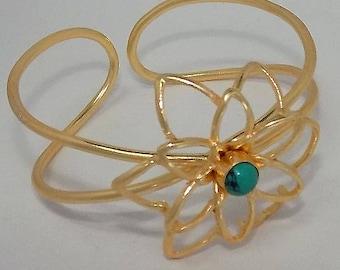 Designer bracelet,plane bracelet,gold plated bracelet,filigree bracelet,delicate bracelet,celeb bracelet,turquoise bracelet
