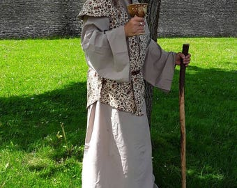 Complete outfit, Light weight Robe, under skirt, Fully lined waist coat, in shades of beige and Brown, LARP, Wizard, Mage, Druid. ELVEN