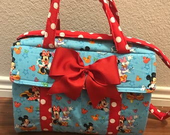 Minnie mouse polkadots diaper bag with Red bow