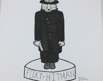 Foxy Hitman Fox Original marker ink illustration