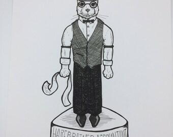 Harebrained Accountant bunny rabbit Original marker ink Illustration