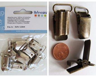 Pinces bretelles loisirs créatifs mercerie métal bronze 32mm ou argenté 38mm attaches nappes tétines