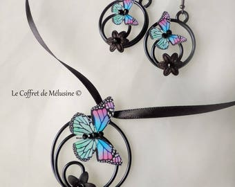 """""""Lilly"""" fuchsia and light green, blue butterfly earrings and necklace"""