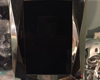 Silver graphic black scrying mirror