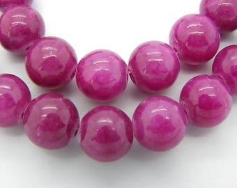 sale 50 jade beads 10 mm round Burgundy plum, Jasper stone of life