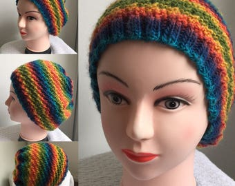 Womens slouchy style rainbow hat Made to Order - Ready to ship in 3-4 days!