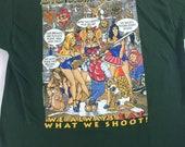 Big Johnson Hunting Shirt 1998 Mens L/XL Girls Cleavage Beavers Thighs Juicy