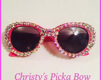 Little girl crystal sunglasses,baby sunglasses,blinged out sunglasses,girl sunglasses,rhinestone sunglasses,pink,clear ab crystals.