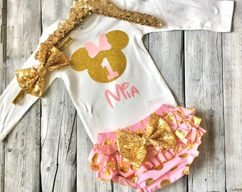 Pink and gold minnie mouse birthday outfit, pink and gold minnie first birthday outfit, pink and gold minnie birthday shirt, minnie mouse