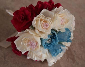 Paper flower bouquet handmade ivory-red-blue