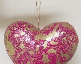 Handmade Hanging Heart Shaped Decoration, Gold/Pink Pattern