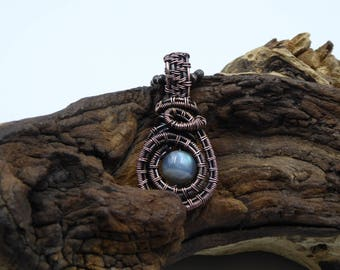Dainty Labradorite Necklace, Heady Wire Wrap, Woven Pendant, Wire Wrapped Jewelry, Gift for Sister