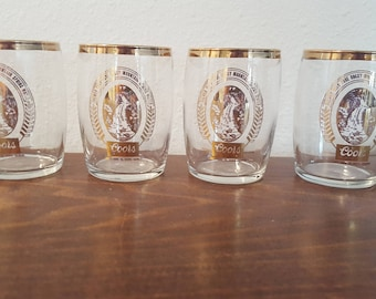 coors gold logo beer tasting glasses set of 4