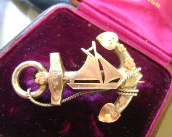 ANTIQUE VICTORIAN SILVER & Gold Anchor and Ship Nautical Sweetheart Brooch