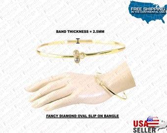 Fancy Diamond Oval Slip On Bangle Bracelet, Different Look Bracelet,Black Bracelet, Diamond Findings,gold bangle Bracelet,Oval Slip Bracelet