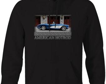 American Hotrod Chevy Corvette Original Convertible Blue White Hooded Sweatshirt- 5095
