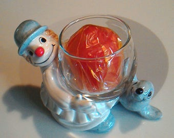 Vintage 1978 Fitz & Floyd Clown and Seal Votive Candle Holder, Made in Japan