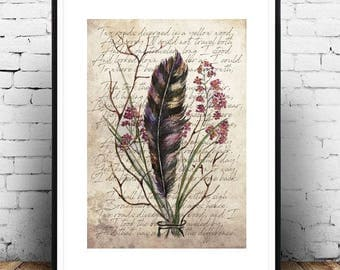 ROAD NOT TAKEN - Romantic Bohemian Bouquet Vintage Antique Style Feather Art Print Poetry Poster Watercolor Painting