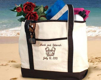 Personalized Honeymoon Beach Totebag Couples Canvas Bag