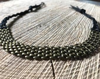 Brass & Leather Tie Bracelet Unique