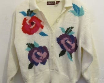 A Women's,Vintage 80's,Lovely Off-White FLORAL Front Cardigan Sweater With Shoulder Pads.L