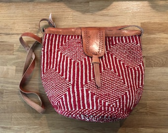 Red woven purse