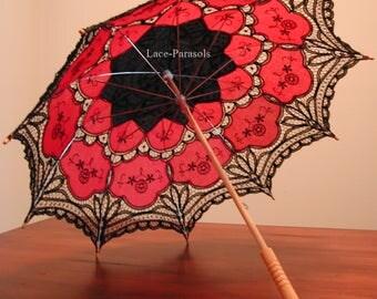 Black and Red Battenburg Lace Parasol