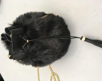 Mini Bucket bag in fake fur
