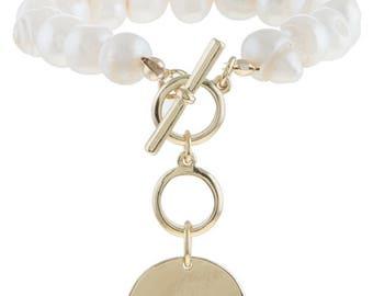Freshwater Pearl Disk Charm Toggle Bracelet