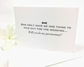One decision will you be my groomsman card - best man card - usher card - groomsman proposal - funny groomsman card - funny best man card