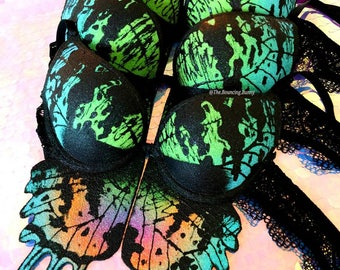 Butterfly Rave Bra | Sunset Moth | Made To Order | EDC Outfit