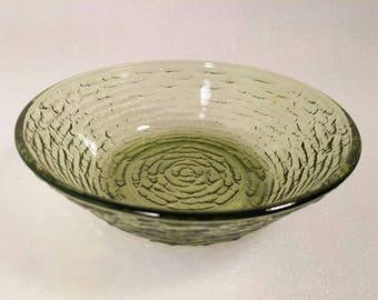 Vintage Anchor Hocking Olive Green Ripley Glass Bowl