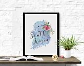 Instant Download South Korea Shape Outline Floral 8x10 inch Poster Print - P1217