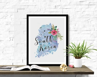 Instant Download South Korea Shape Outline Floral 8x10 inch Poster Print - P1217