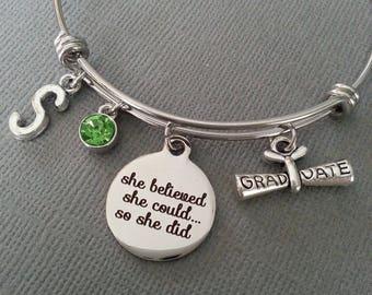 Grad Bracelet / She Believed She Could So She Did / Graduation Gift / Graduate Bracelet / High School Bracelet / Scroll / Diploma