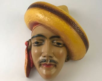 Chalkware Plaque, Vintage Chalkware Head with Sombrero, 3D Wall Plaque, Vintage Wall Art, Man with Sombrero, Sculptural Wall Art