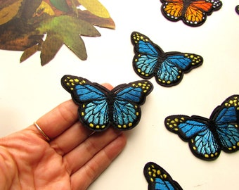 1 Blue butterfly iron patch  Blue butterfly patch  Butterfly applique  Iron on applique  Embroidered blue butterfly  Blue patch for jeans