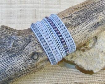 Beaded Leather Wrap Bracelet: Hyacinth Crystal Mix/Lavender Wrap Bracelet/5 Wrap Bracelet/Gift for Her/3rd Anniversary/Layering Bracelet