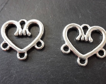 Chandeliers connectors Supports earring or necklace, love, silver Metal heart, 14 mm