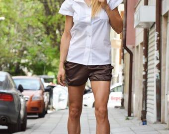 Oversize Sexy Maxi Set, Combo Shirt And Shorts, Extravagant Shorts, White Cotton Shirt, Stylish Set by SSDfashion