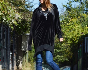 Black Extravagant Maxi Hooded Jacket, Zip Casual Velvet Sweatshirt, Asymmetric Black Jacket by SSDfashion