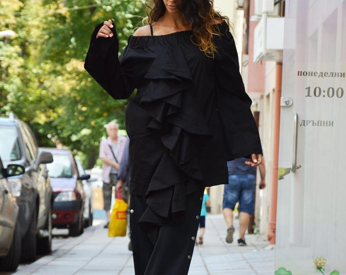 Casual Black Maxi Shirt, Extravagant Long Sleeves, Elegant Summer Shirt , Asymmetric Top By SSDfashion
