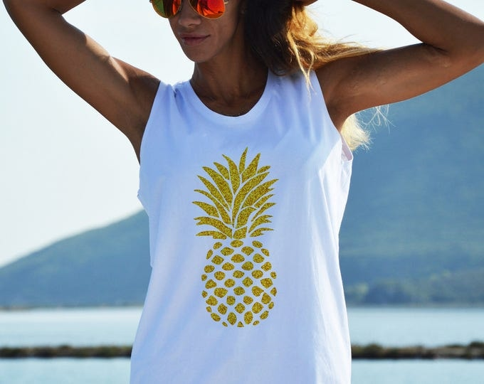 White Long Top with Pineapple, Extravagant Gold Print T-shirt, Casual Oversize Top, Sleeveless Top by SSDfashion