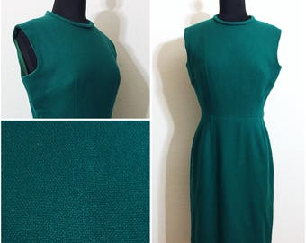 Original vintage 1950's Green Wool Wiggle Dress, Vintage 50's Emerald Sleeveless Wool Dress, Vintage Green Wiggle Dress, Size: S-M