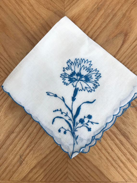Beautiful Vintage Blue Floral Hankie!