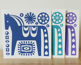 Dala Horse Greetings Card, Scandi Horse Card, Dala Horse Birthday Card, Handmade Horse Card, Retro Horse Greetings Card