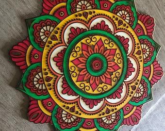 Painted Wood Mandala - Laser Cut - Painted Mandala  - Fine Woodworking - Wall Hanging - Original