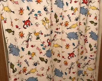 Dr. Suess horton thing one and thing two all over character curtain  panels choose size