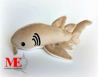 Nurse Shark Plush: Custom Color and Size Sand, Cappuccino, Ivory, or Charcoal Shark Flopppy Beanie Plushie
