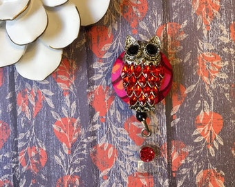 Dazzled Red Owl -Nurse Retractable ID Badge Reel/ RN Badge Holder/Doctor Badge Reel/Nurse Badge Holder/Student Nurse badge